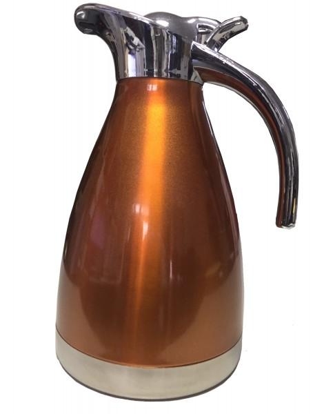 Edelstahl Optik Kaffeekanne ORANGE 2,0l Teekanne unisoliert Getränk