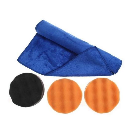 3x 125mm Polierschwamm 1x Poliertuch Klett Autolack Polierpad Poliermaschine Set