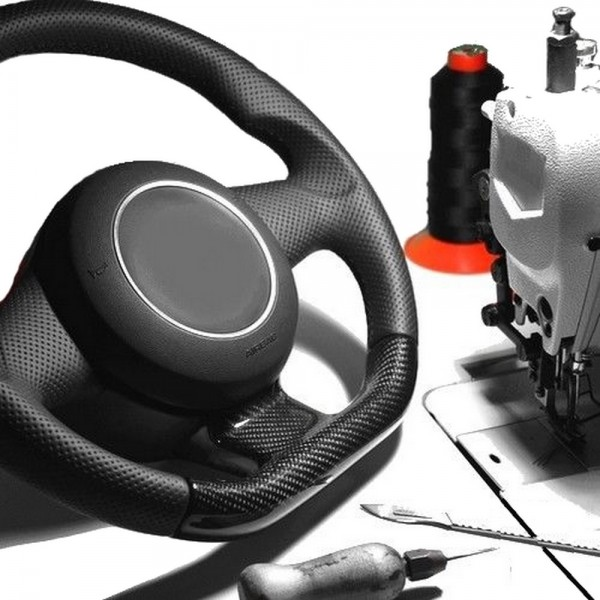 VW Tiguan Lenkrad neu beziehen mit Automobil - Leder glatt+perforiert