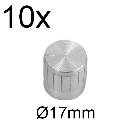 10x ALU Drehknopf silber für Achse 6mm Potentiometer Potiknopf Drehknöpfe