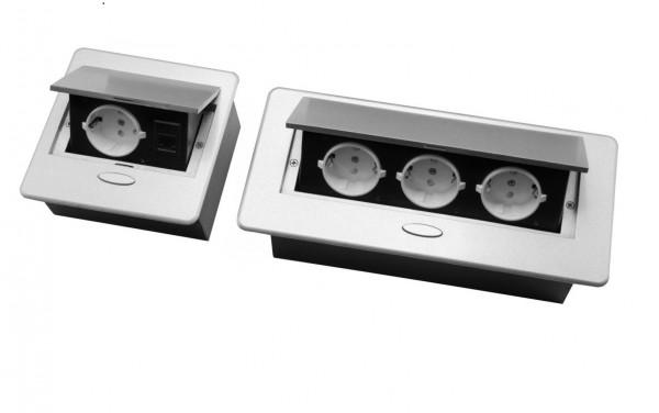 Tischsteckdose 1Fach / 3 FachFußbodensteckdose Bodensteckdose Wand Einbausteckdose Steckdose Schwar