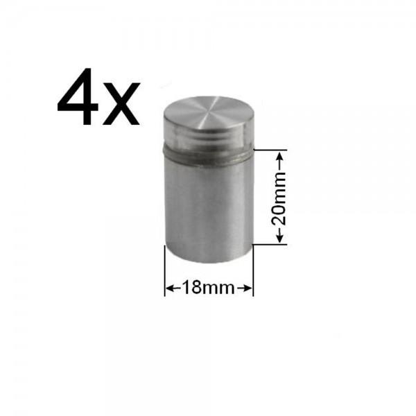 4x Edelstahl Abstandshalter Ø18mm Spiegelhalter Spiegelbefestigung Glashalter
