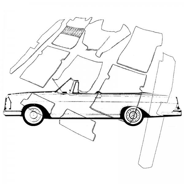 Mercedes W111 Cabrio Hochkühler Teppich Velours beige Keder Kunstleder braun (H)