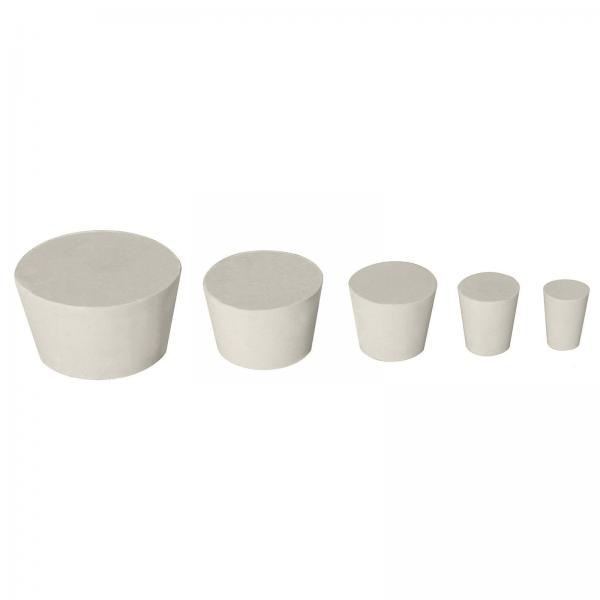 Stopfen Gummi konisch Pfropf Verschluss Korken Gummistopfen Silikon Weiß Labor