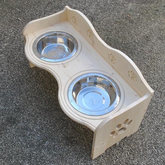 Futterstelle Wasserstelle Freßnapf Futterbar mit Edelstahl Schüsseln für Hunde