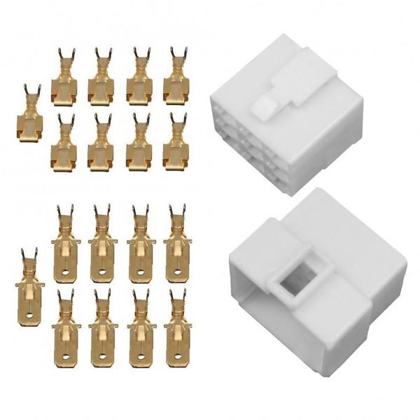 10x Gehäuse 9 polig Stecker 6,3mm Flachsteckhülsen Flachstecker Steckergehäuse