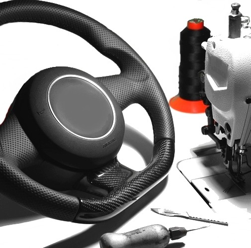 Lederlenkrad neu beziehen Mercedes SL-Klasse W129 Automobilleder Daumenauflagen