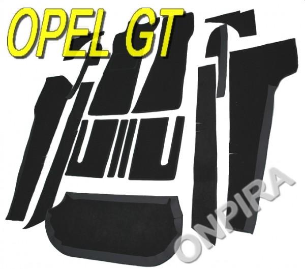 Opel GT Auto Teppich komplettes Set Velours schwarz Keder Stoff schwarz NEU
