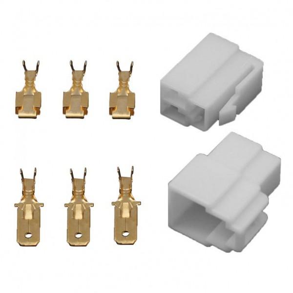 10x Gehäuse 3 polig Stecker 6,3mm Flachsteckhülsen Flachstecker Steckergehäuse