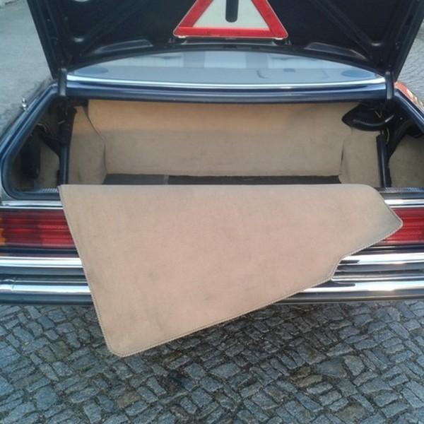 Mercedes W116 S-Klasse Kofferraummatte Velours beige Keder Stoff schwarz