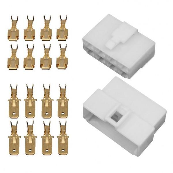 10x Gehäuse 8 polig Stecker 6,3mm Flachsteckhülsen Flachstecker Steckergehäuse