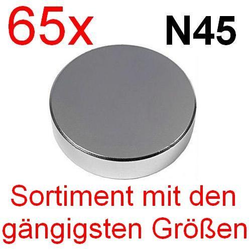 65 x N45 Sortiment mit den gängigsten Neodym Magnet Größen Magnete