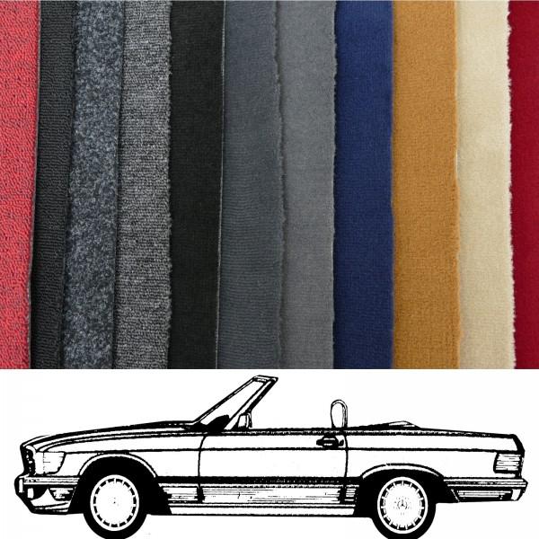 Autoteppich komplett Mercedes R107 SL bis Baujahr 1982 ohne Notsitze verschiedene Farben Neu